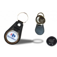 Leather keyring with coin